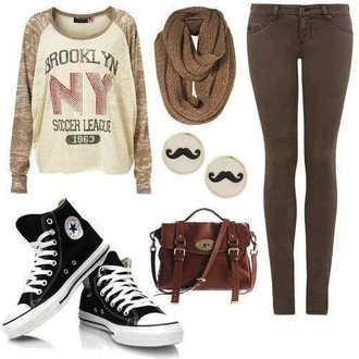 shirt fall spring mustache moustache baggy cute sweaters cute cozy school back to school hipster jeans scarf shoes