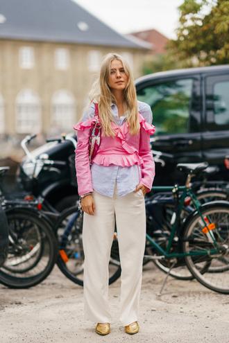 top ruffled top copenhagen fashion week streetstyle shirt ruffle pants white pants wide-leg pants shoes metallic