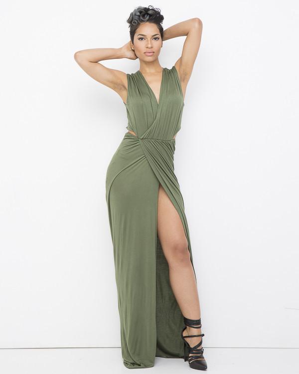 Olive Green Maxi Dress - Shop for Olive Green Maxi Dress on Wheretoget