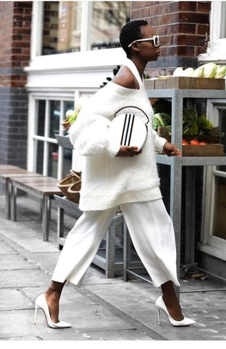 pants white pants cropped pants sweater white sweater pumps white heels high heel pumps pointed toe pumps all white everything