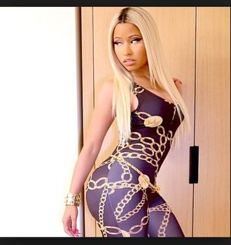 black jumpsuit nickiminaj gold chains tight chain shirt gray gormet gray shirt