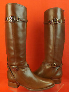 NIB TORY BURCH ALMOND LEATHER CALISTA GOLD REVA TALL RIDING BELTED BOOTS 11 $495