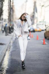 jeans,nyfw 2017,white lace,fashion week 2017,fashion week,streetstyle,white jeans,boots,black boots,ankle boots,lace top,white lace top,shirt,white shirt,jacket,white jacket,white fur jacket,fur jacket,choker necklace,black choker,all white everything,mini bag