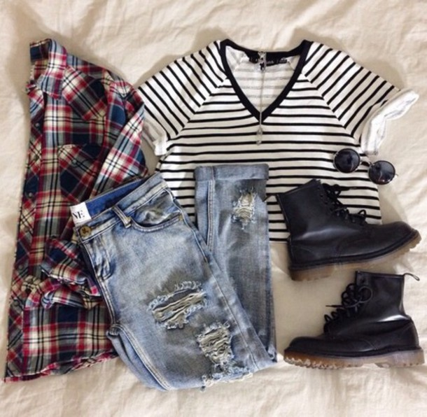 blouse t-shirt jeans shoes