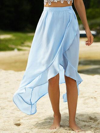 skirt blue light blue asymmetrical summer beach dressfo