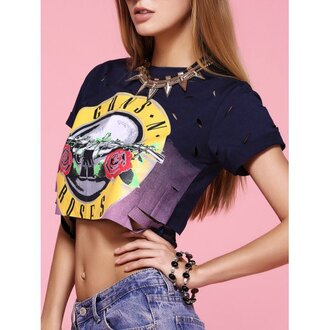 shirt navy guns and roses crop tops fashion style summer trendsgal.com