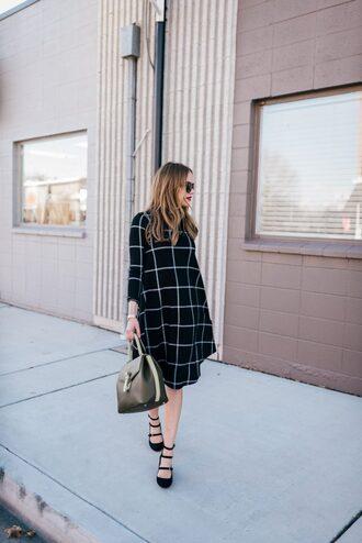 dress tumblr midi dress checkered grid checkered dress bag black bag high heels heels black heels shoes black shoes sunglasses