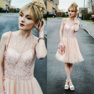 vintage lace dress pink lace dres ruffle vintage dress street formal casual cute dress pink pastel pink dress