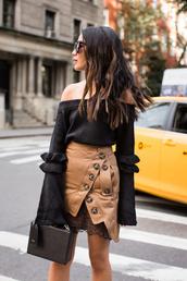 skirt,tumblr,mini,mini skirt,asymmetrical,asymmetrical skirt,top,black top,off the shoulder,off the shoulder top,bell sleeve sweater,bag,black bag