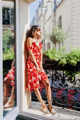 dress tumblr red dress floral floral dress midi dress sandals espadrilles wedges wedge sandals shoes