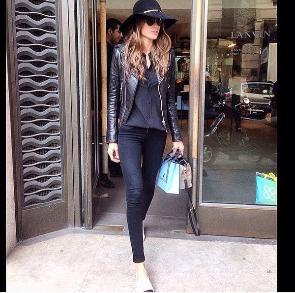 jacket leather jacket black leather jacket izabel goulart celebrity style streetwear winter outfits all black everything leather