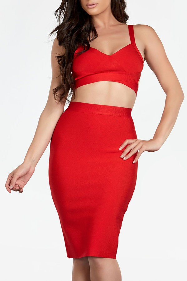 Sabrina 2 piece red bandage dress