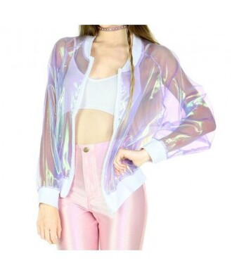 jacket pastel goth plastic transparent holographic hologram jacket laser kawaii crop tops tumblr see through pastel pastel pink high waisted style tumblr outfit hippie it girl shop glitter holographic windbreaker pants chic hipster cool girl cute clear baseball jacket bomber jacket transparent jacket