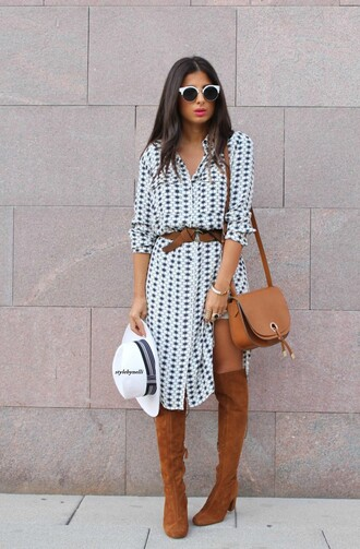 style by nelli blogger shirt dress hat shoes jewels bag