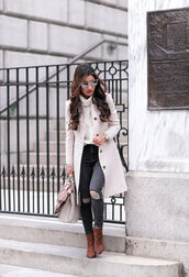 extra petite,blogger,jeans,bag,coat,sweater,scarf,hat,shoes,turtleneck sweater,ankle boots,winter outfits,fall outfits,tumblr,white coat,white sweater,turtleneck,cable knit,white cable knit sweater,grey jeans,ripped jeans,boots,brown boots,sunglasses,mirrored sunglasses,winter look