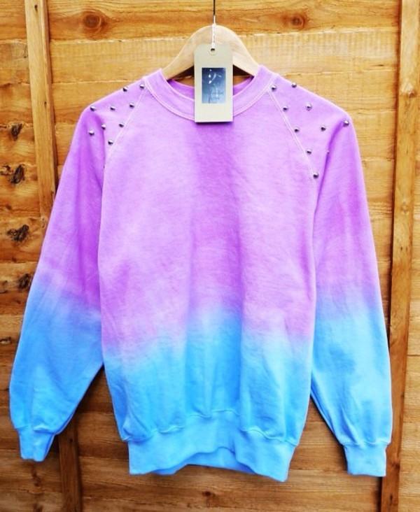tie dye tie dye sweater sweater pullover studs studded sweater purple blue purple sweater blue sweater