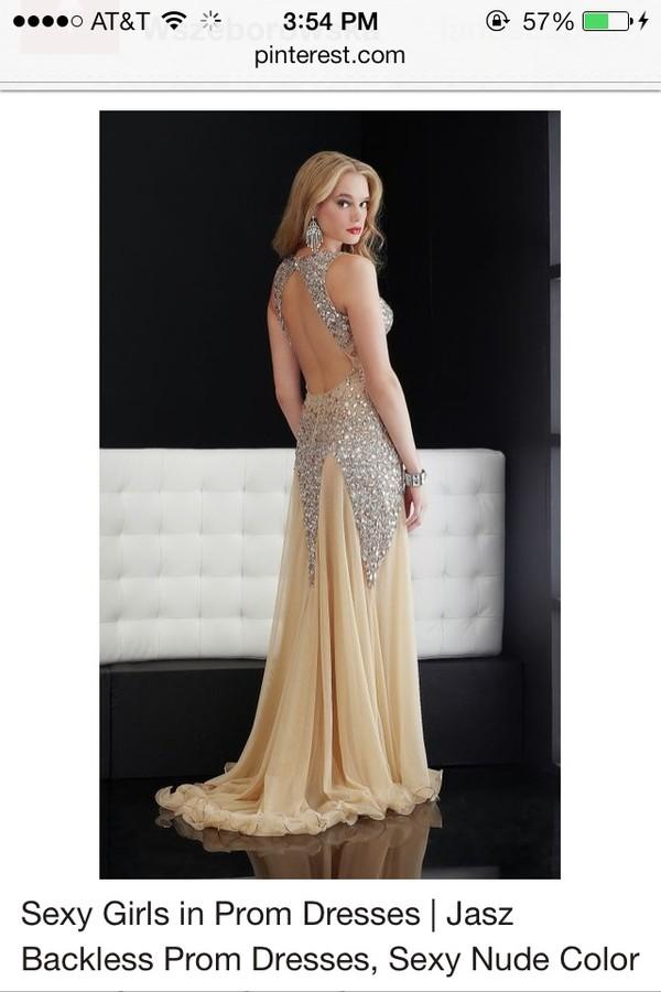 dress backless prom dress beige dress nude dress prom girl Mori Lee sequins
