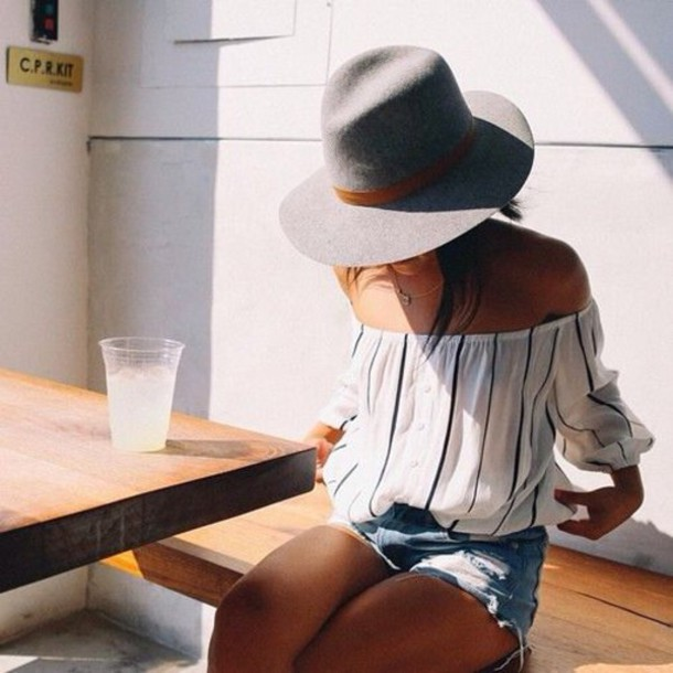 stripes boho off the shoulder off the shoulder top grey hat striped top distressed denim shorts blouse hat grey grey summer hat vertical stripes top ripped outfit idea fedora shirt black and white bardot top
