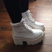 shoes,boots,white shoes,white boots,all white shoes,white laces,grunge,soft grunge,high heels,platform shoes,platform lace up boots,platform boots,timberlands,swag,tunblr,dope,fashion,cute,kawaii,kawaii grunge,hipster,art hoe,hoe,mid heel boots