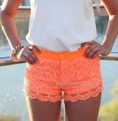 orange,neon,shorts,pants,style,summer,bright,pretty