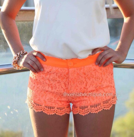 style pants shorts orange pretty neon summer bright