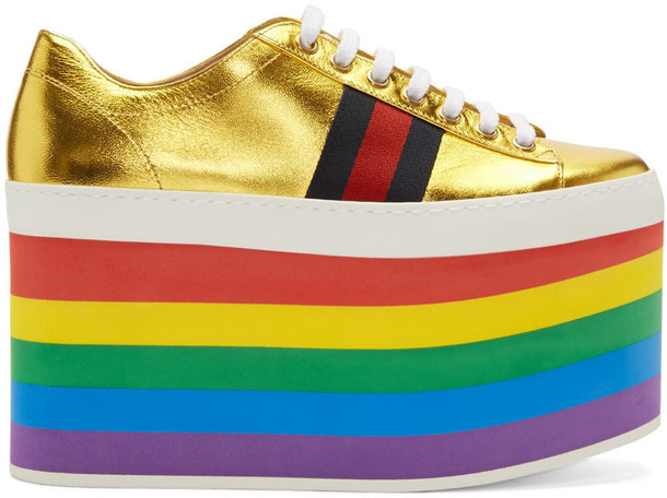 gucci sneakers platform sneakers gold shoes