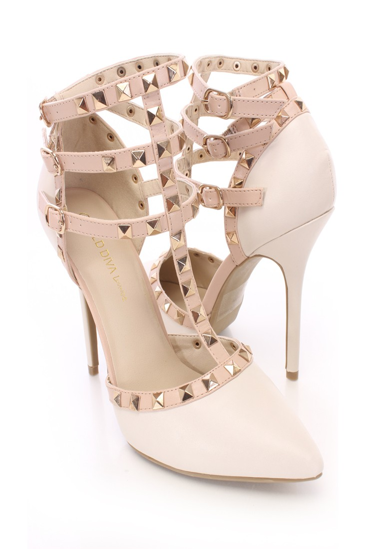Strappy Studded Single Sole Heels Faux Leather
