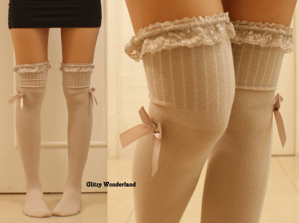 Tan lace bow stockings over knee socks thigh