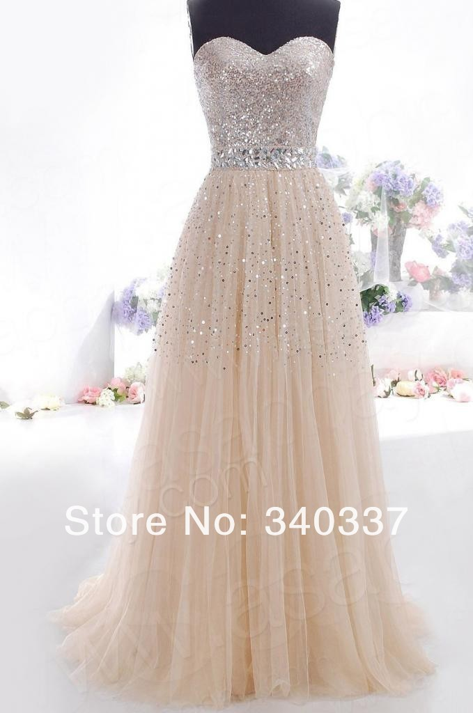 Ready to ship long  sweetheart a line champangne formal prom dress long with sequined court train under $60   free shipping