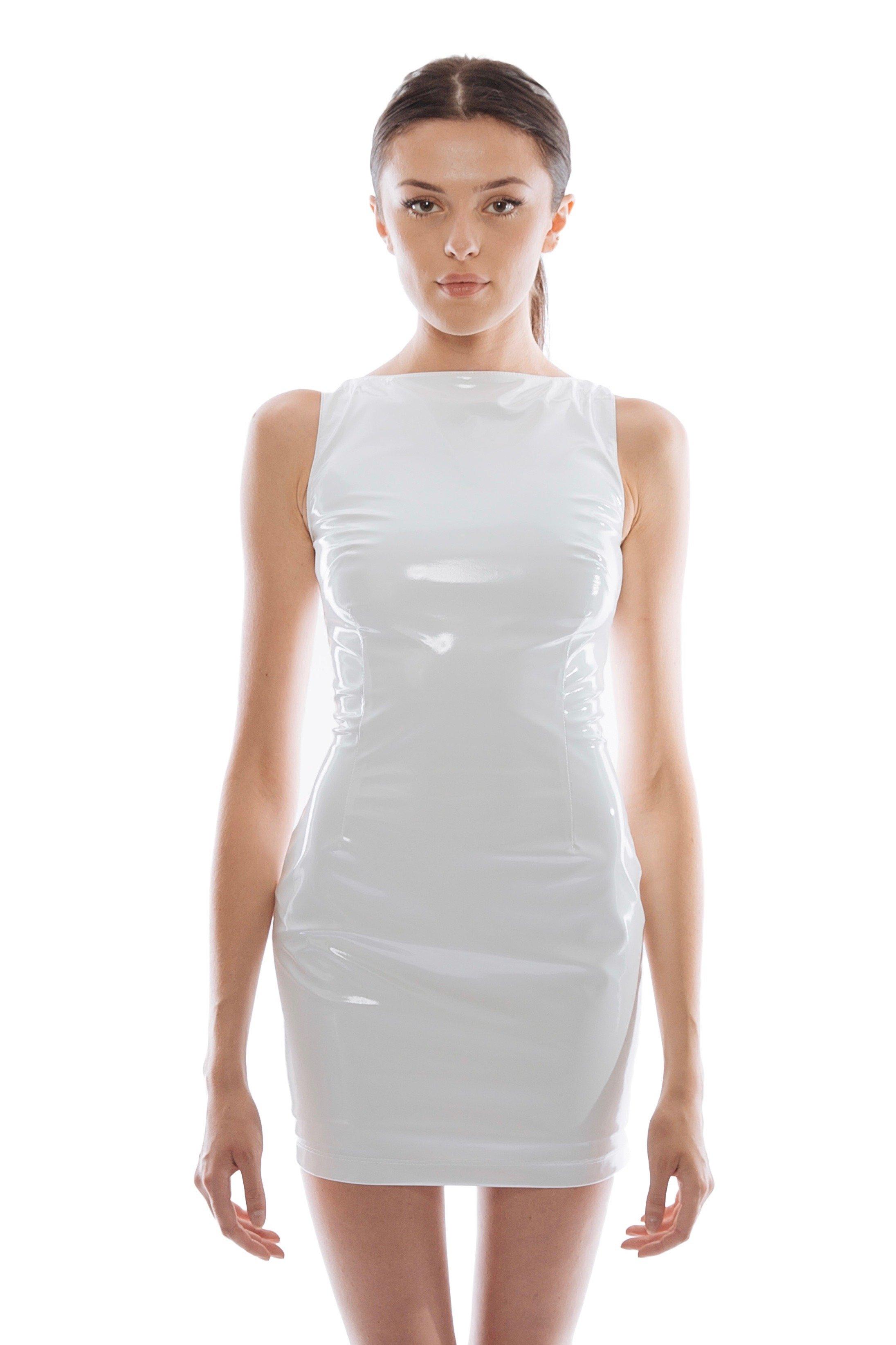 PATENT MINI DRESS - White