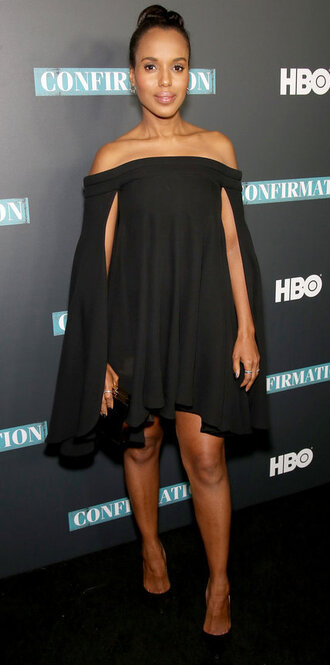 dress black dress off the shoulder dress off the shoulder kerry washington pumps celebrity style celebrity long sleeve dress party dress black pumps high heel pumps olivia pope black girls killin it