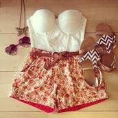 shorts,hispter,floral,girl,sandals,heart glasses,bralette,necklace,shirt,romper,jewels,High waisted shorts,flowered shorts,flowers,summer,tank top,shoes,sunglasses,belt,blouse,forever 21,bustier,white,fvkin,cream,cute outfits,cute shorts,cute shirt,foral,short,crop tops,super cite,colorful,jewelry,crop,brown,pink,cute,style,clothes,lace bralette,lace,bustier crop top,white crop tops,corset top,top,t-shirt,strapless,girly,printed shorts,jumpsuit,lace strapless bralet,oufits,pattern,lace top,gloves,charlotte russe,fashion,outfit