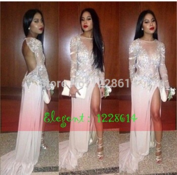 Aliexpress.com : buy 2015 sparkly prom dresses o neck full sleeve chiffon crystal beads glitter backless side split court train formal evening gowns from reliable gowns formal dresses suppliers on suzhou elegent wedding / evening store