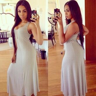 dress long dress pretty white stripes aaleeyah petty long hair