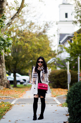 fastfood&fastfashion blogger dress coat scarf jewels bag make-up shoes fall outfits boots pink skirt