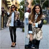 coat,fur,vest,vintage,style,long waistcoat,clothes,women,fashion,streetstyle,Choies