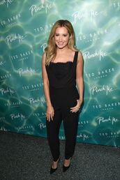 jumpsuit,all black everything,ashley tisdale,pumps