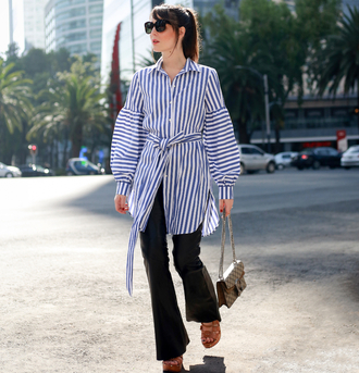 shirt stripes pants sunglasses tumblr long shirt striped shirt flare pants bag sandals sandal heels high heel sandals shoes