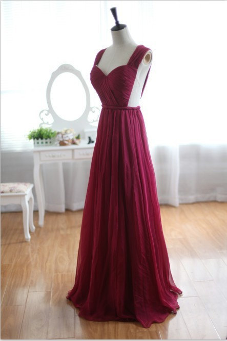 Wine red burgundy chiffon bridesmaid dress/prom dress