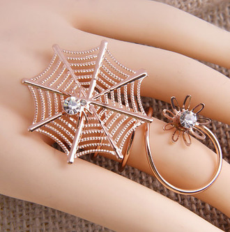 jewels jewelry ring silver spider spider web web bug arachnid spooky cool cute halloween gem long spiral finger hand