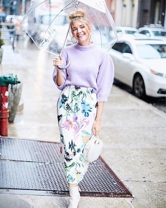 sweater lilac sweater lilac cropped cropped sweater pastel skirt midi skirt floral skirt floral umbrella boots bag