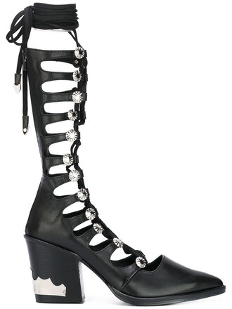 women boots lace up boots lace leather black shoes