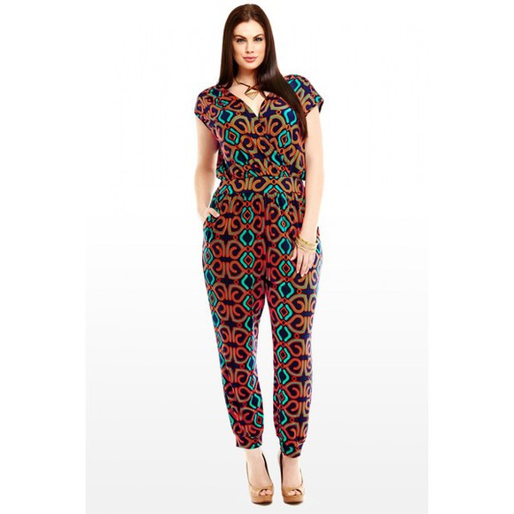 pants harem jumpsuit geo print clothes surplice