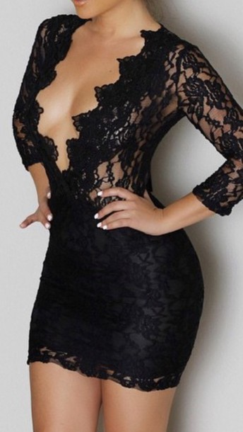 Dress: lace dress, black dress, little black dress, lace up, lace ...
