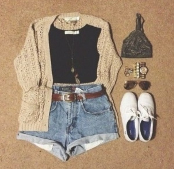 shorts jewels sweater cardigan cute shoes blouse black crop top high High waisted shorts jeans high waisted denim shorts outfit tank top cute sweaters top tank top coat shirt vest indie crop tops High waisted shorts flannel shirt jewelry