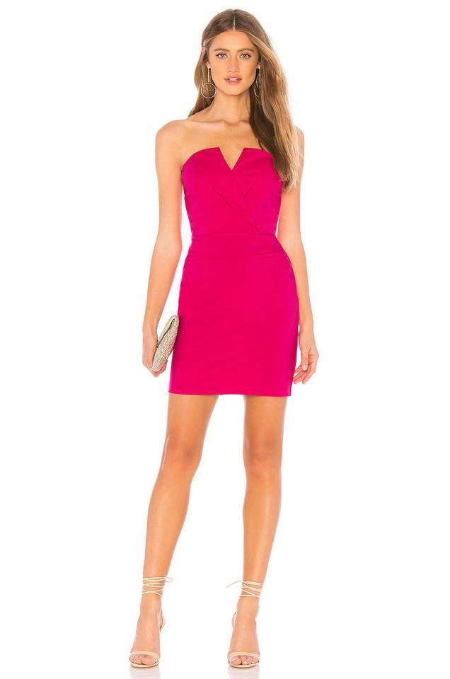About Us Valentina Strapless Blazer Dress in fuchsia