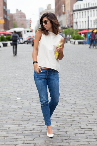 this time tomorrow blogger top jeans shoes bag sunglasses jewels
