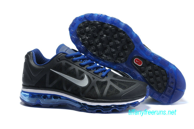 Mens Nike Air Max 2011 Black Blue Silver Sneakers [Tiffany Free Runs 076]-$56.98|Tiffanyfreeruns.net
