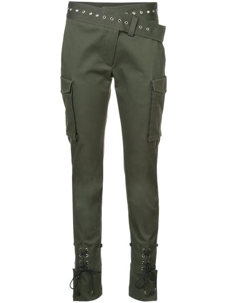 women lace cotton green pants