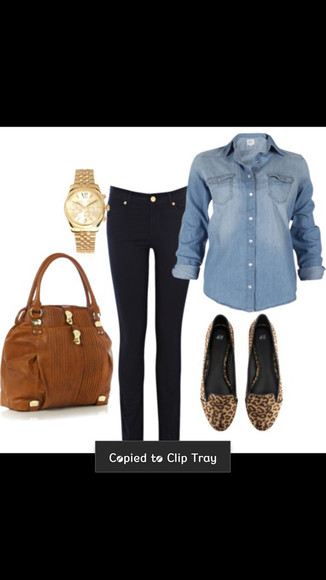 button up jewels gold watch watch cheetah shoes brown purse jeans